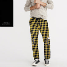 Zara Man 6 Pocket Cotton Check Trouser For Men-Black & Yellow -BE2439