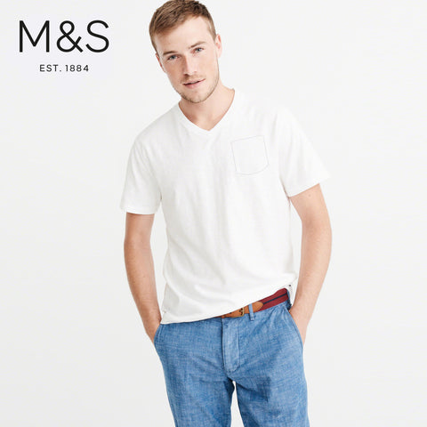 M&S V Neck Half Sleeve T Shirt For Men-White-NA965