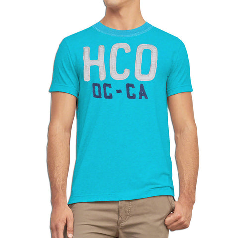 "B Quality Men's ""Hollister"" Short Sleeves Fashion Crew Neck With Aplic -Sky Blue (2) (HS217)"