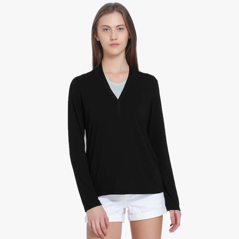 ARIS Full Sleeve Y Neck Style Blouse For Ladies-Black-BE5169