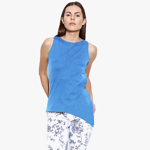 ARIS Sleeveless Crew Neck Ladies Blouse- Light Sky Melange-BE5685