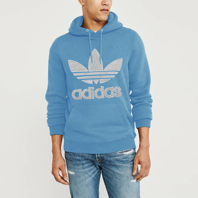 Adidas Fleece Pullover Hoodie For Men-Sky Blue-NA10281