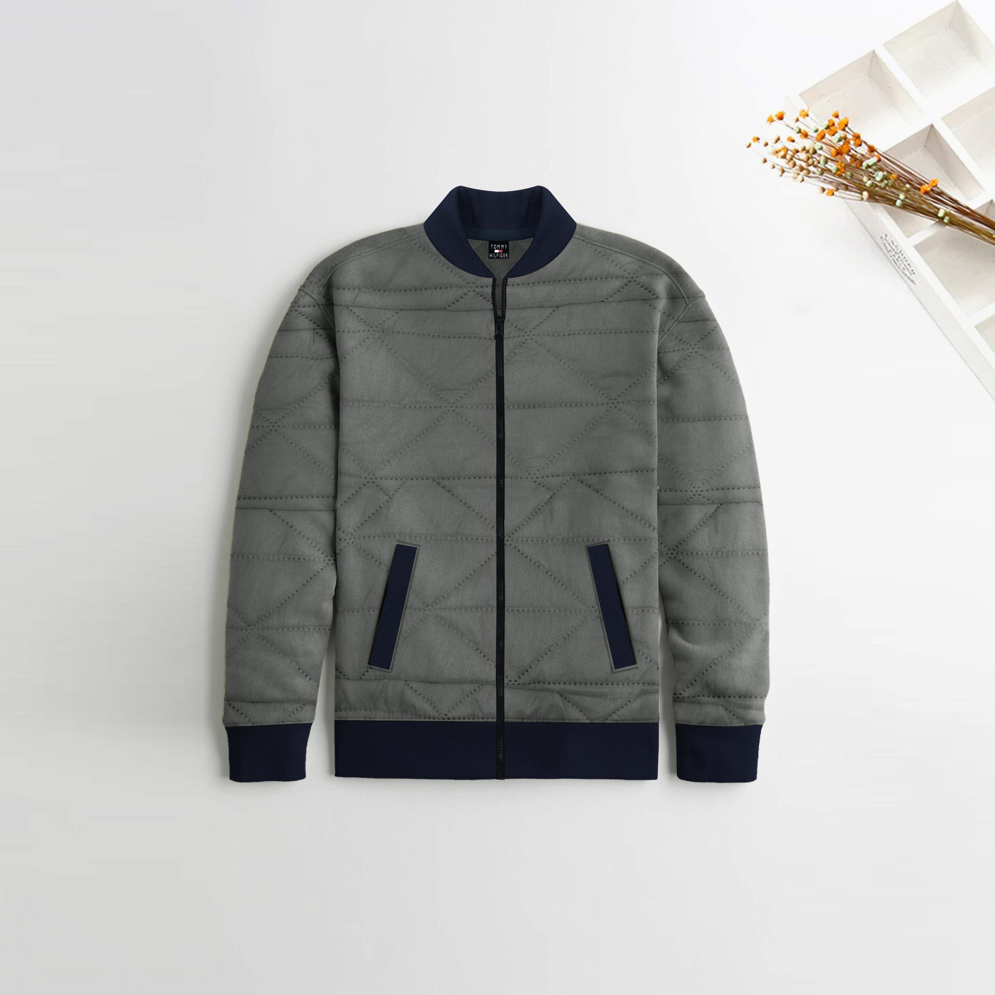 TH Quilted Zipper Baseball Jacket For Kids-Dark Grey-NA12120