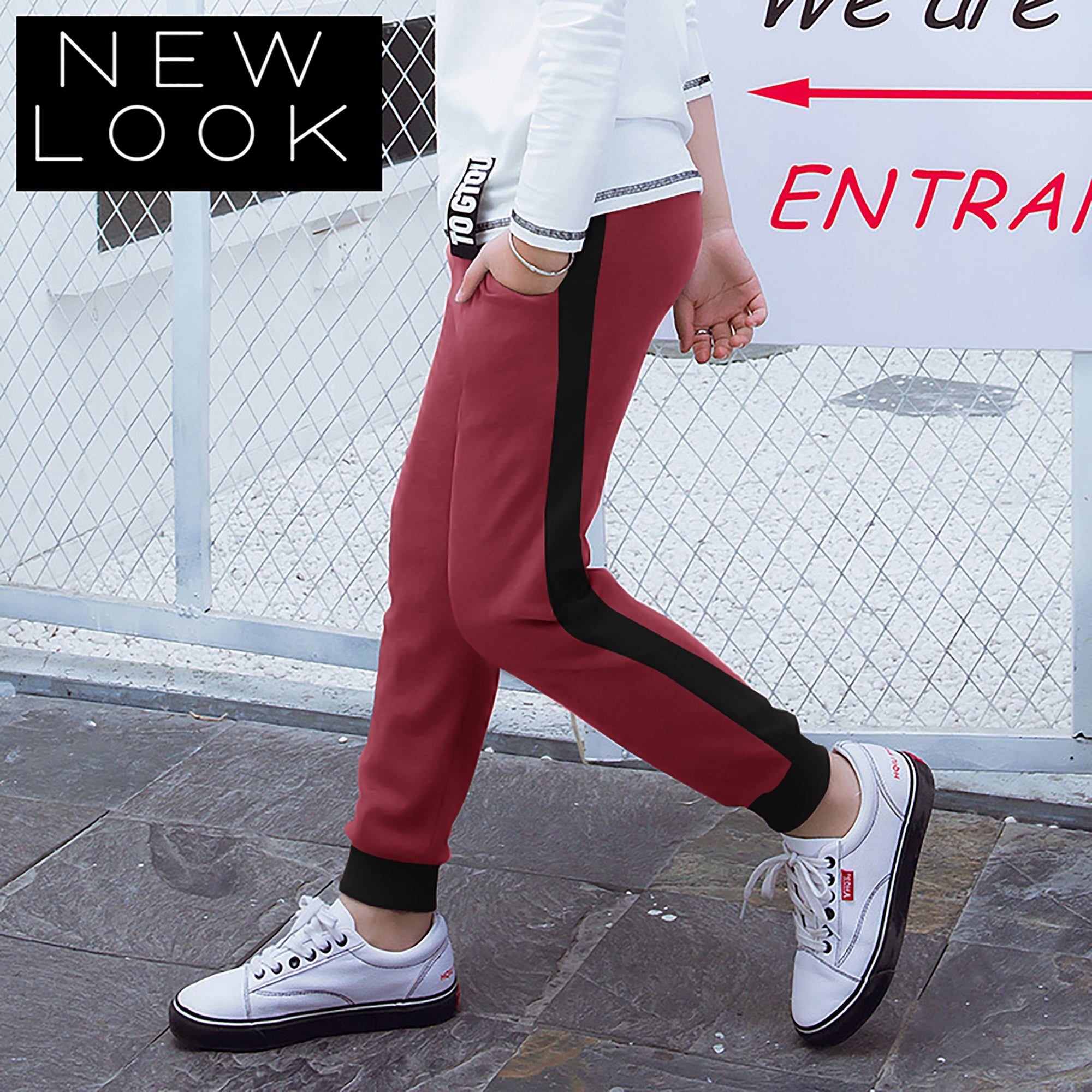 New Look Single Jersey Jogger Trouser For Kids-Light Red & Black-NA1175