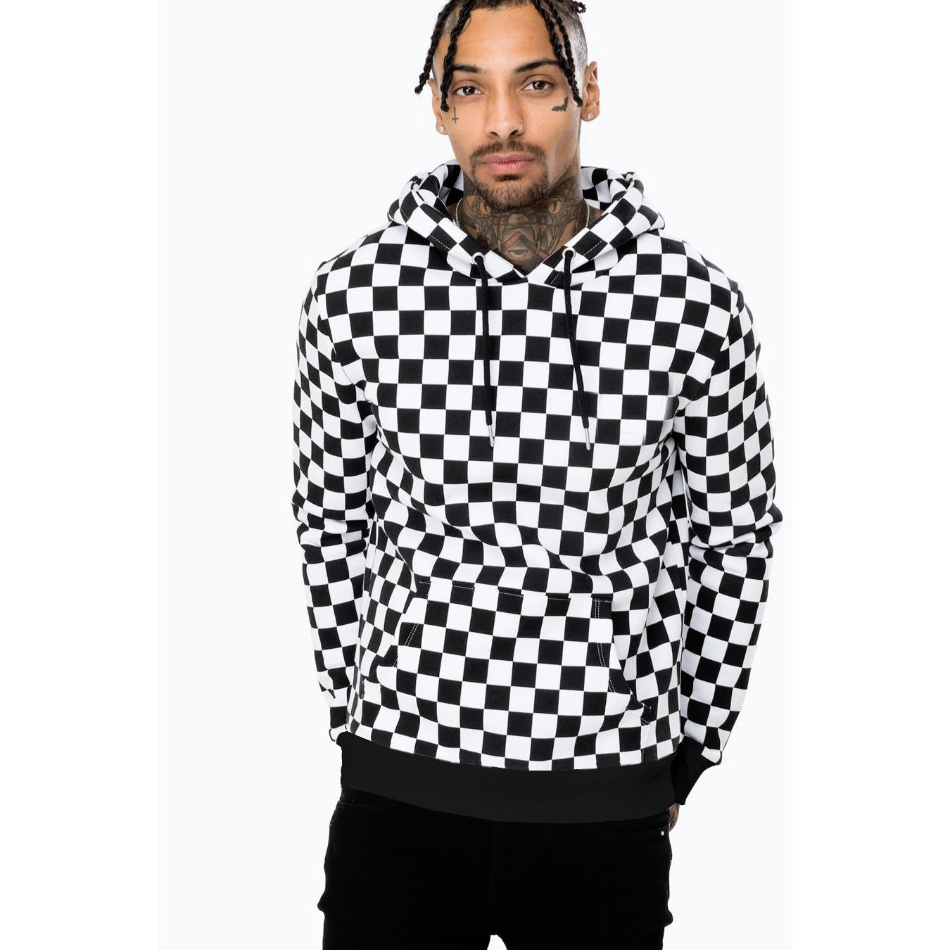 KNIGHT Fleece Pullover Hoodie For Men-White & Black Chek-NA9890