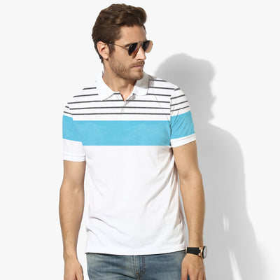 Next Single Jersey Half Sleeve Polo For Men-White & Stripe-BE5086