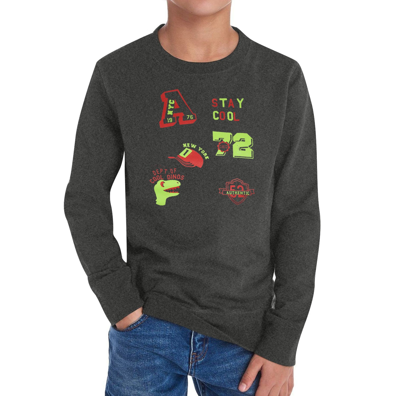 Baby Club Fleece Sweatshirt For Kids-Charcoal Melange with Print-BE12815