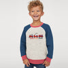 BALETONGNIAN Terry Jersey Raglan Sleeve Shirt For Kids-Off White Melange with Navy-BE10758