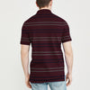 Banana Republic Short Sleeve P.Q Polo Shirt For Men-Dark Maroon with Stripe-BE8390