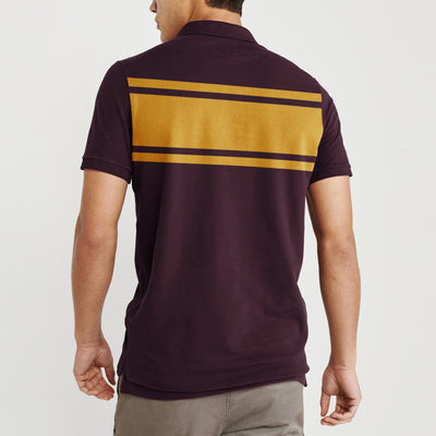 brandsego - Banana Republic Short Sleeve P.Q Polo Shirt For Men-Dark Maroon with Stripe-BE8392