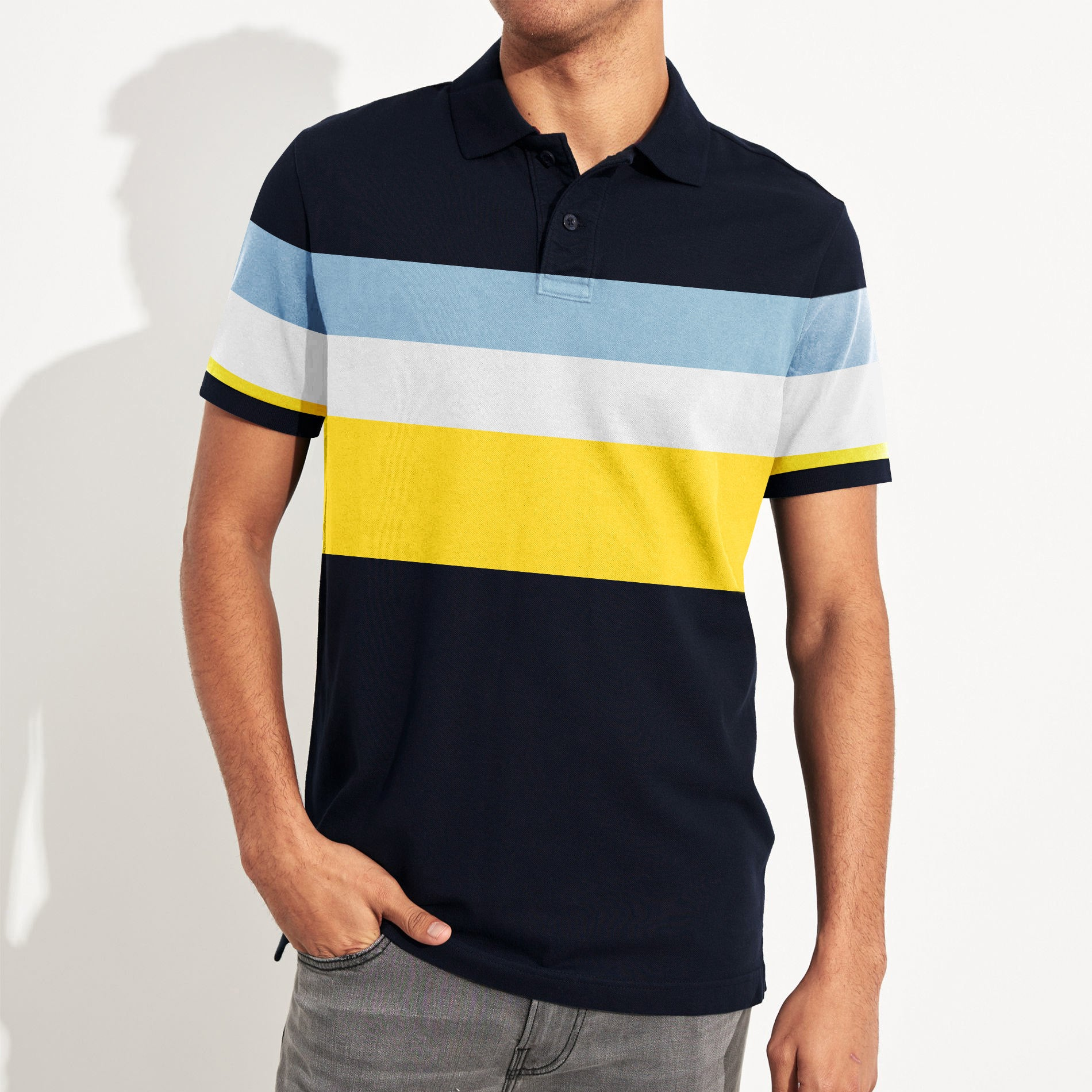Banana Republic Short Sleeve P.Q Polo Shirt For Men-Dark Navy with Stripe-BE8412
