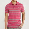Banana Republic Short Sleeve P.Q Polo Shirt For Men-Dark Pink with Grey Stripe-BE8610