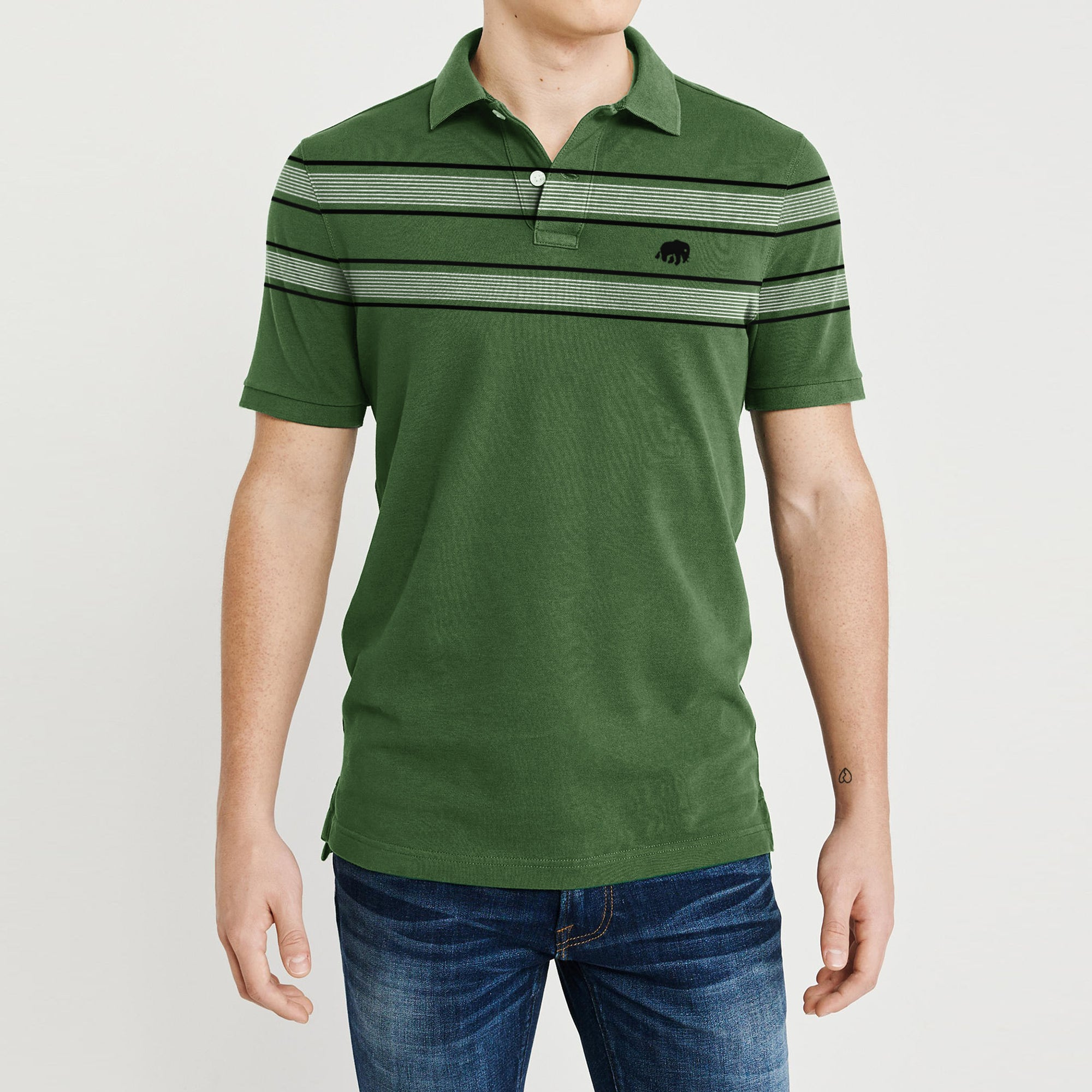 Banana Republic Short Sleeve P.Q Polo Shirt For Men-Green with Stripe-BE8415