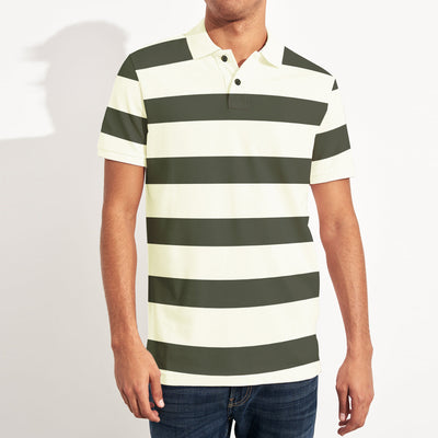 brandsego - Banana Republic Short Sleeve P.Q Polo Shirt For Men-Half White & Dark Olive Stripe-SP012