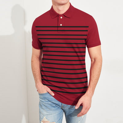 brandsego - Banana Republic Short Sleeve P.Q Polo Shirt For Men-Red & Black Stripe-BE8321