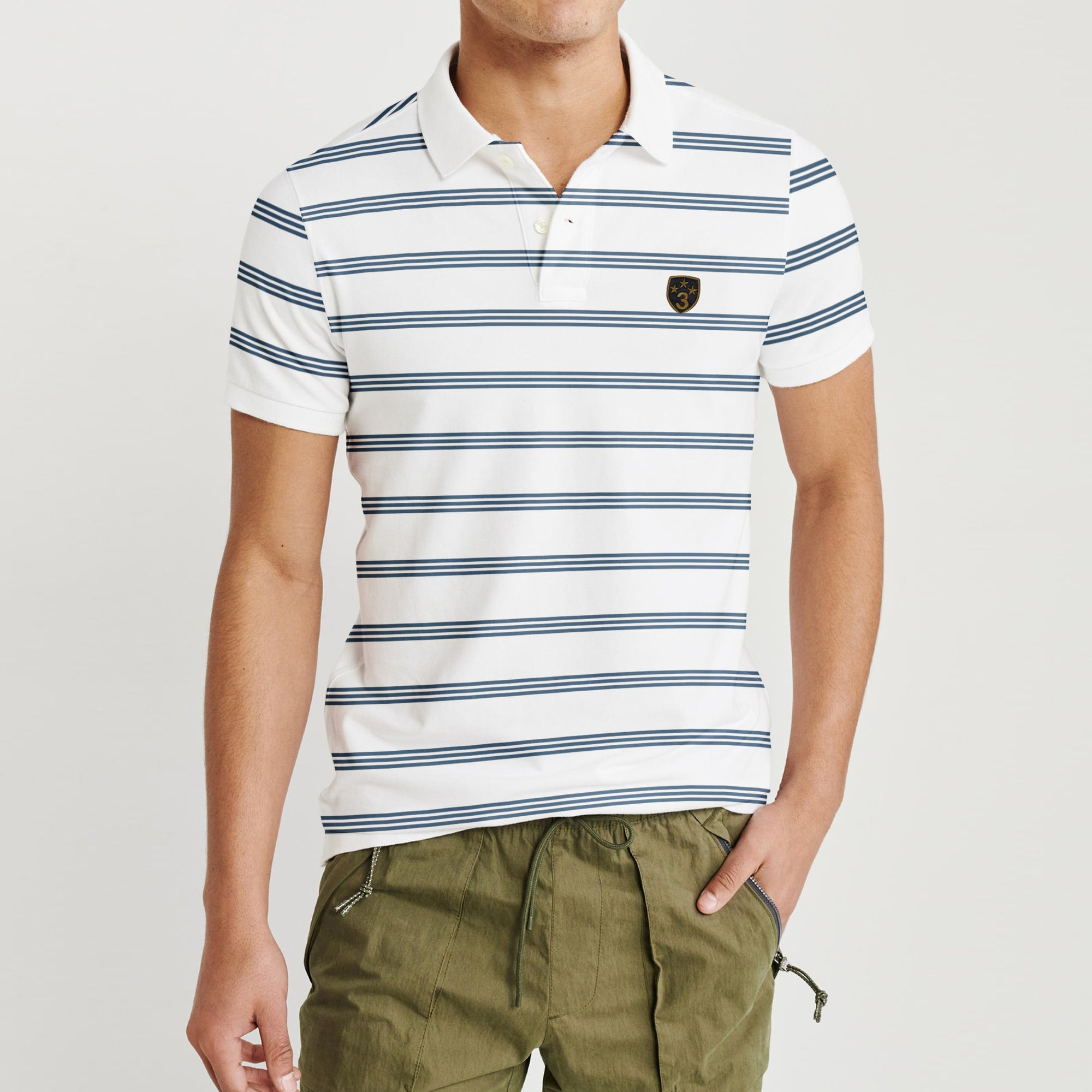 brandsego - Banana Republic Short Sleeve P.Q Polo Shirt For Men-White with Stripe-BE8320