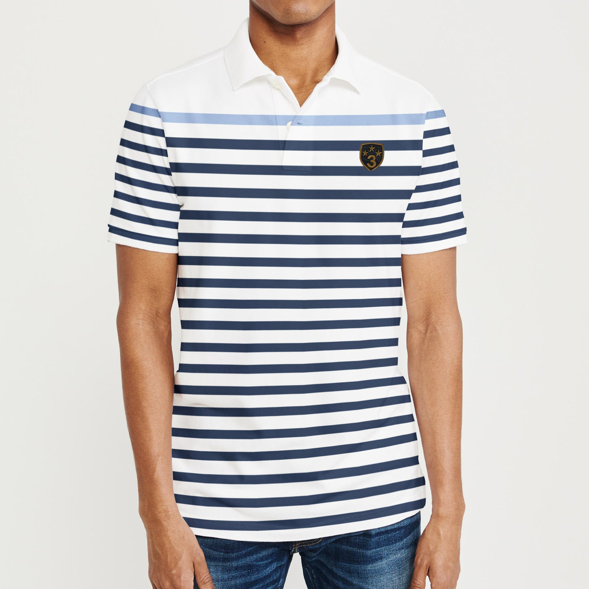 brandsego - Banana Republic Short Sleeve P.Q Polo Shirt For Men-White with Stripe-BE8349