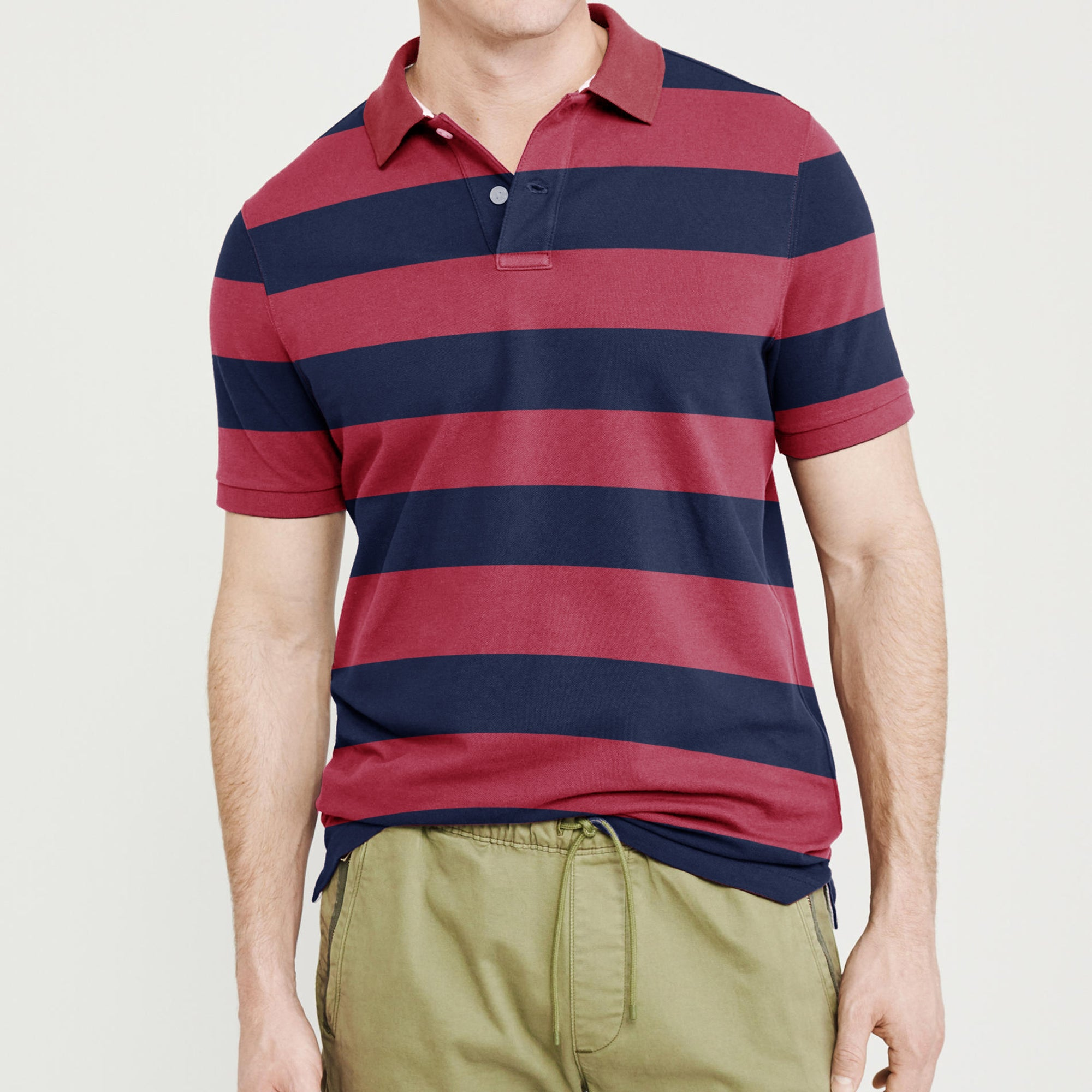 Banana Republic Short Sleeve Single Jersey Polo Shirt For Men-Pink & Navy Stripe-BE8409