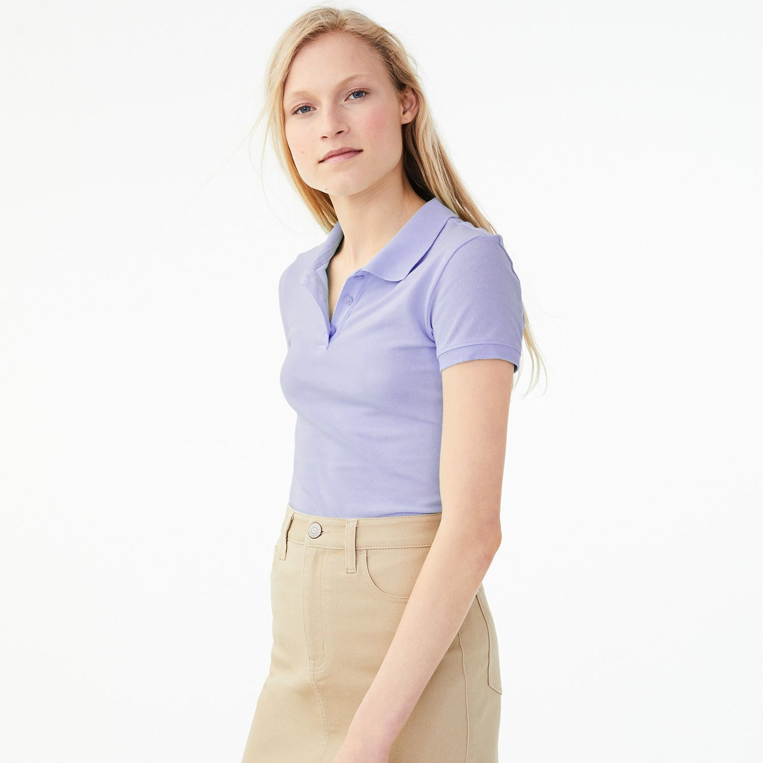 Basic Edition Half Sleeve P.Q Polo Shirt For Ladies-Light Purple-BE9122