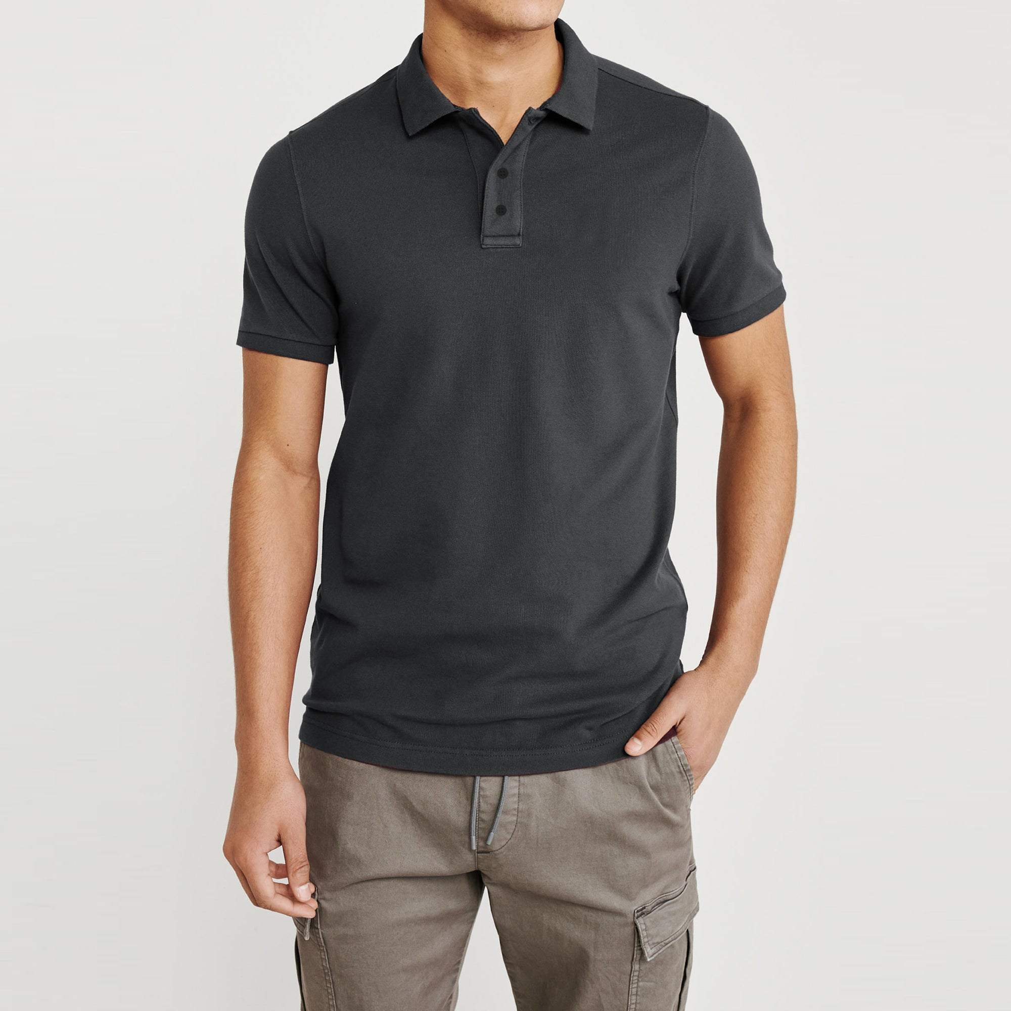 Basic Edition P.Q Short Sleeve Polo Shirt For Men-Dark Grey-BE9120