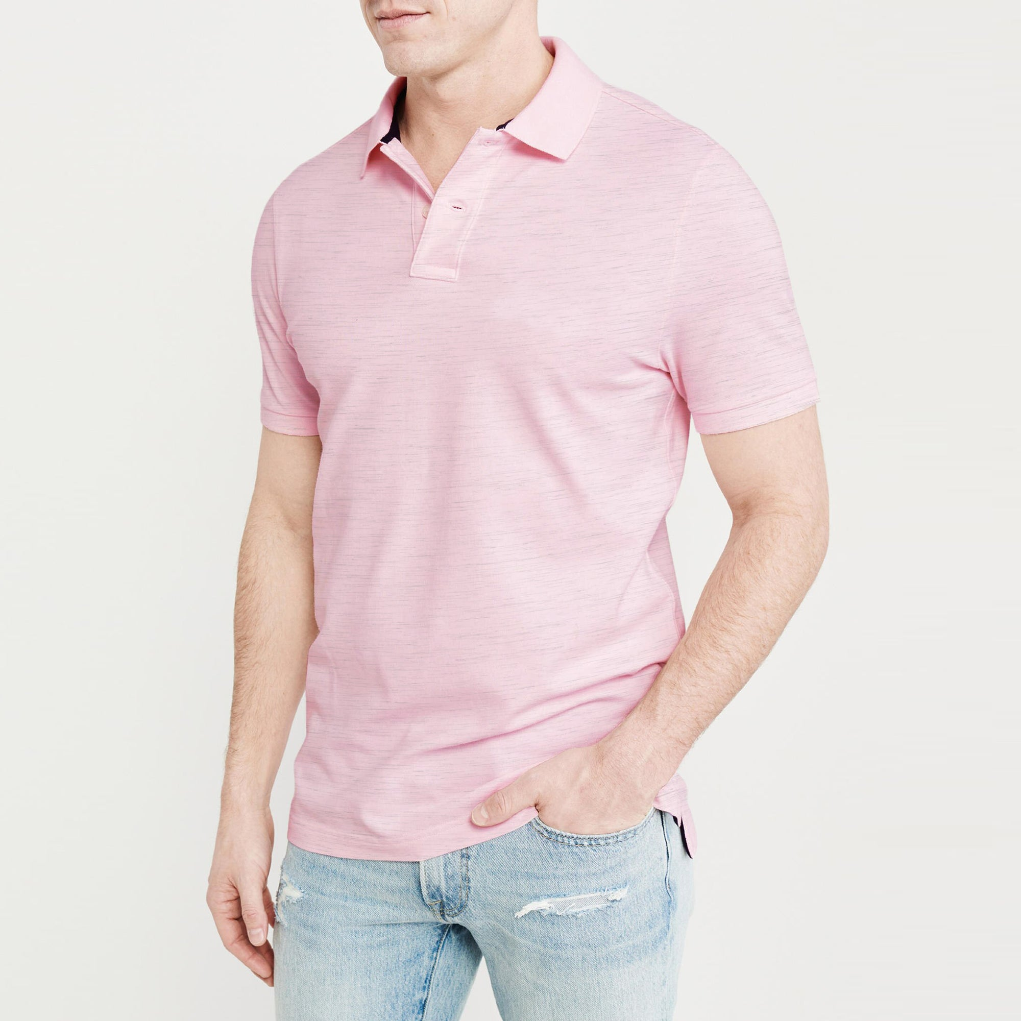 Basic Edition P.Q Short Sleeve Polo Shirt For Men-Pink with Melange-BE9126