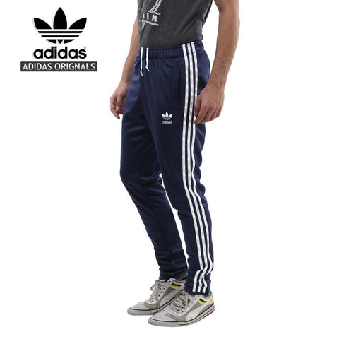 Adidas Cotton Trouser For Men-Navy With White Stripes-BE971