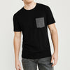 Beverly Hills Crew Neck Pocket Style Tee Shirt For Men-Black-BE8191