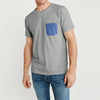 Beverly Hills Crew Neck Pocket Style Tee Shirt For Men-Dark Grey Melange-BE8192