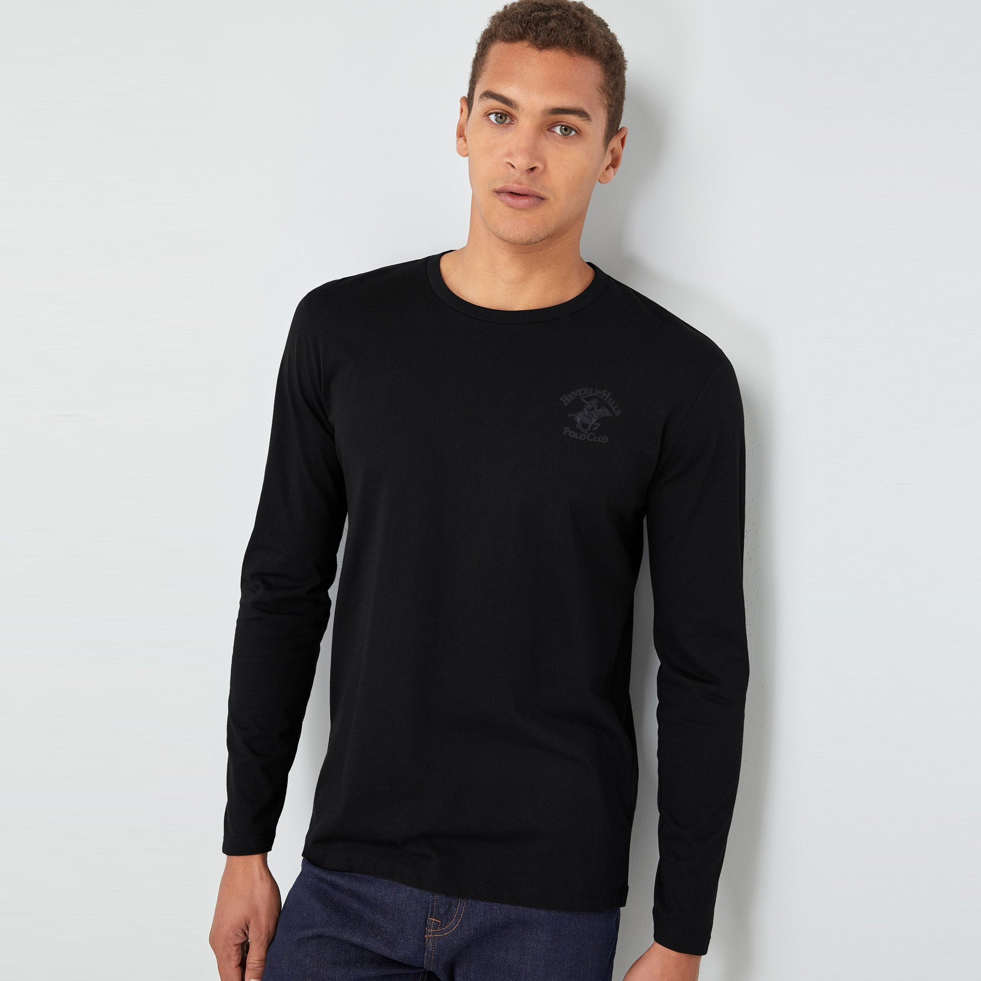 Beverly Hills Polo Club Single Jersey Shirt For Men-Black-BE8139