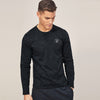 brandsego - Beverly Hills Single Jersey Long Sleeve Tee Shirt For Men-Black Melange-BE8142