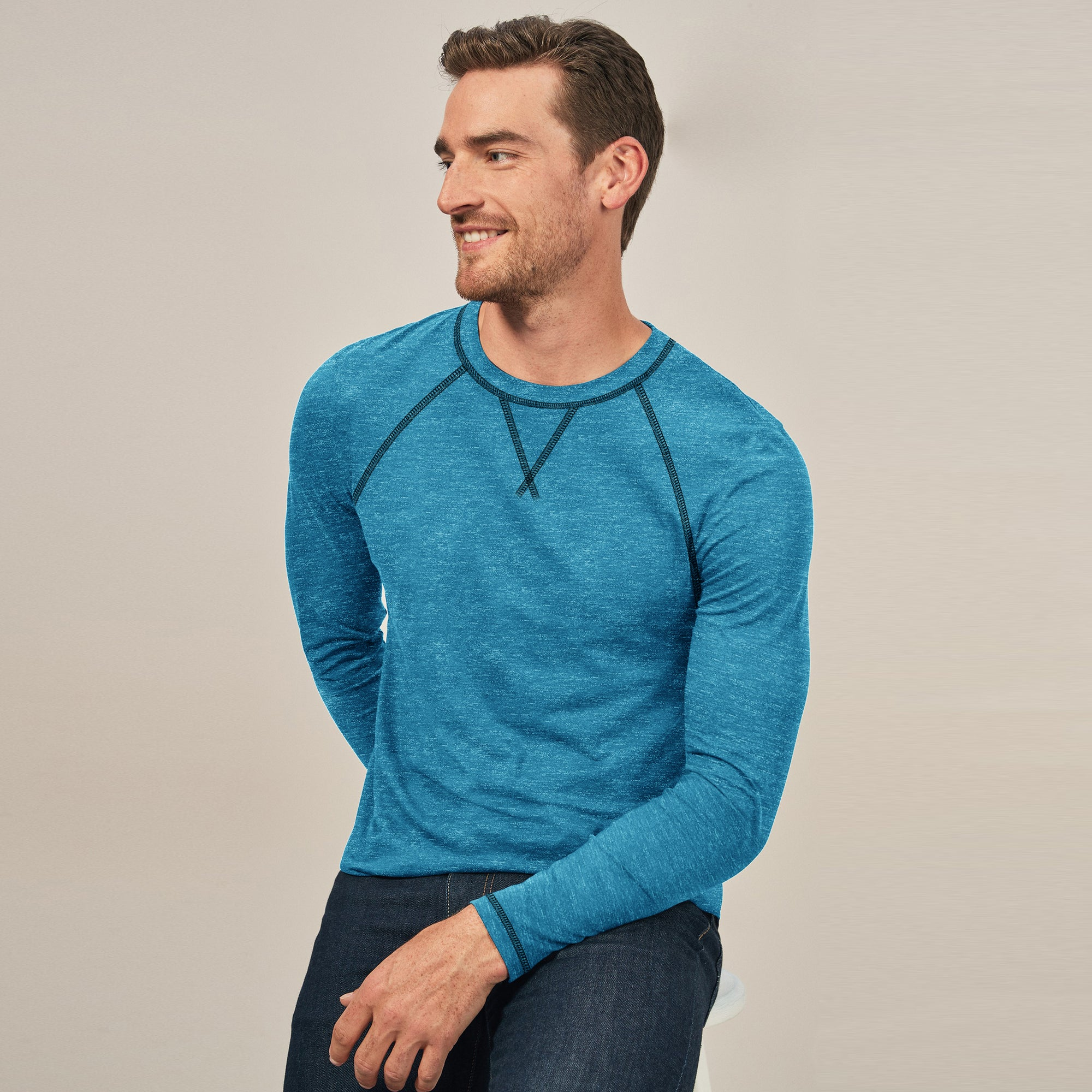 Beverly Hills Polo Club Single Jersey Shirt For Men-Cyan Melange-BE81574