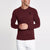 brandsego - Beverly Hills Single Jersey Long Sleeve Tee Shirt For Men-Maroon Melange-BE8154