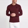 Beverly Hills Single Jersey Long Sleeve Tee Shirt For Men-Maroon Melange-BE8154