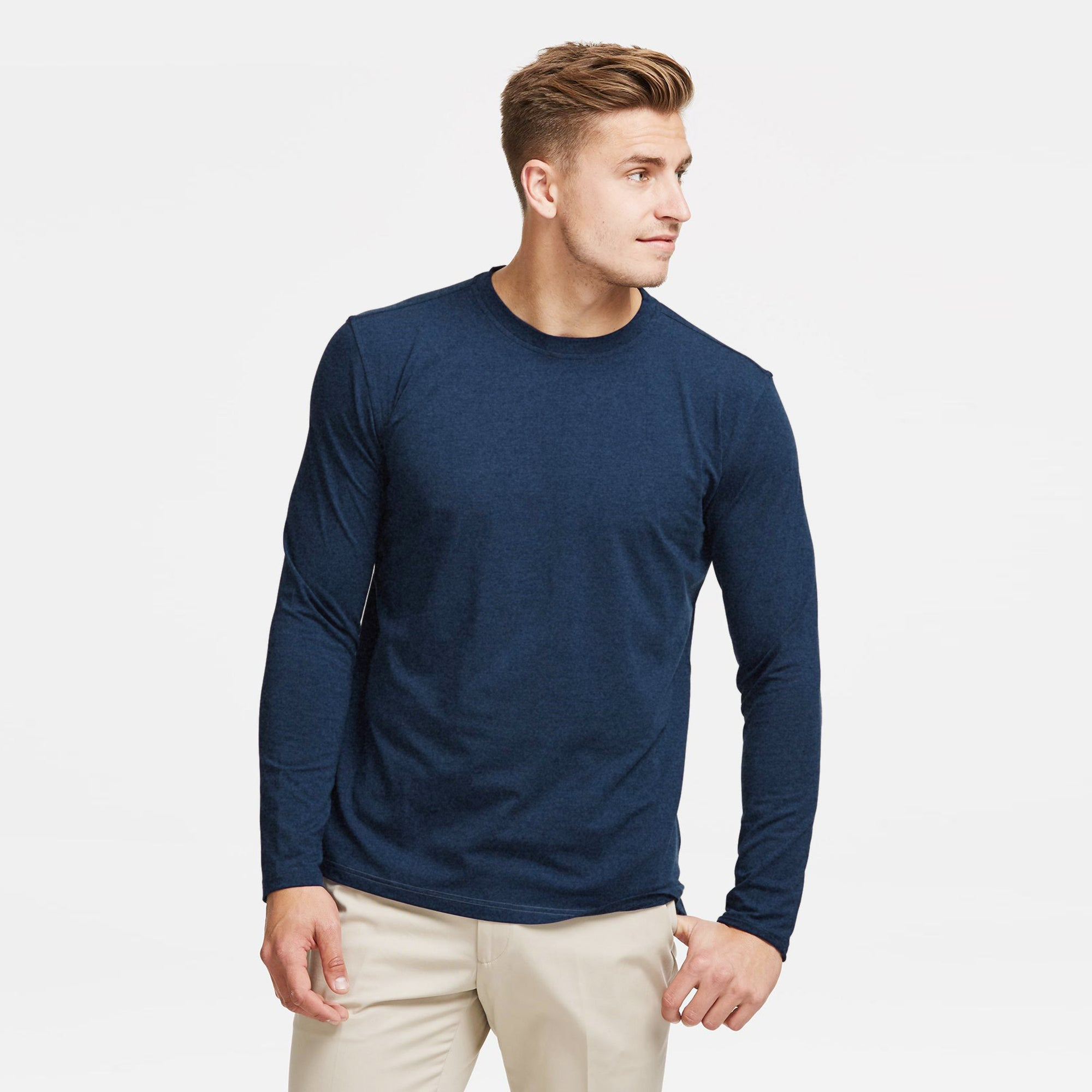 Beverly Hills Polo Club Single Jersey Shirt For Men-Navy Melange-BE8168