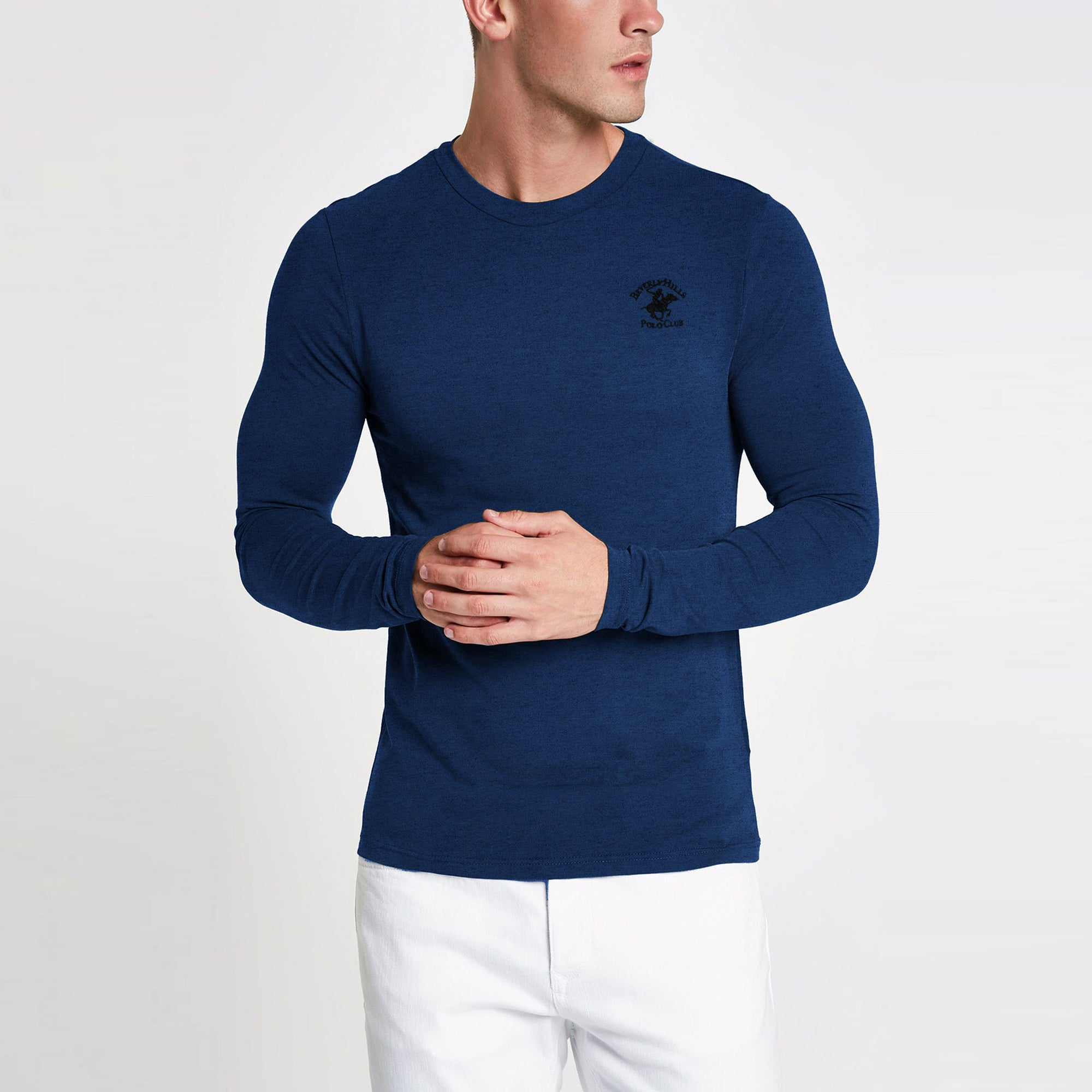 Beverly Hills Single Jersey Long Sleeve Tee Shirt For Men-Dark Blue Melange-BE8886