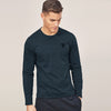 Beverly Hills Single Jersey Long Sleeve Tee Shirt For Men-Dark Blue Melange-BE8923