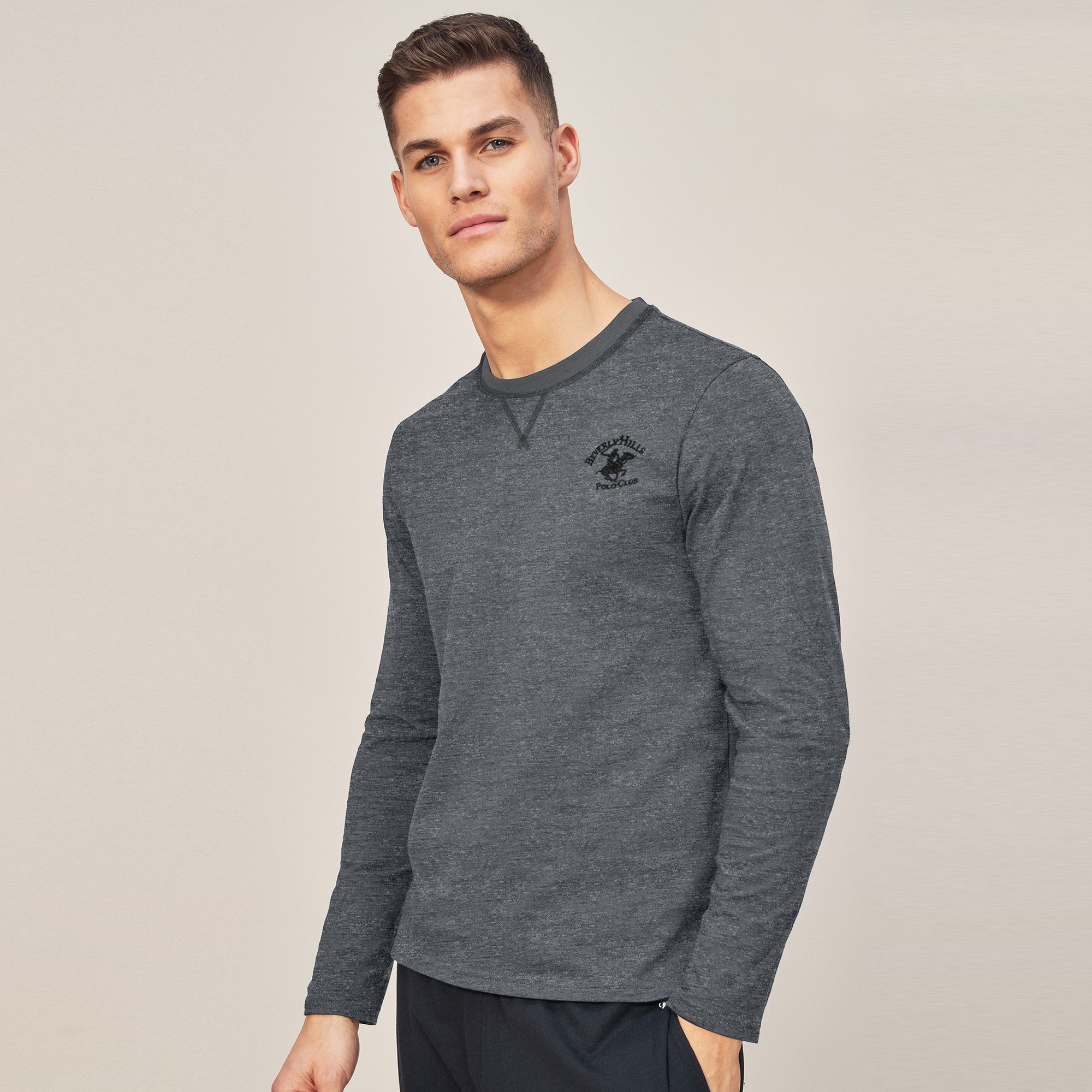 Beverly Hills Single Jersey Long Sleeve Tee Shirt For Men-Dark Grey Melange-BE8898