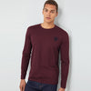 Beverly Hills Single Jersey Long Sleeve Tee Shirt For Men-Dark Maroon Melange-BE8925