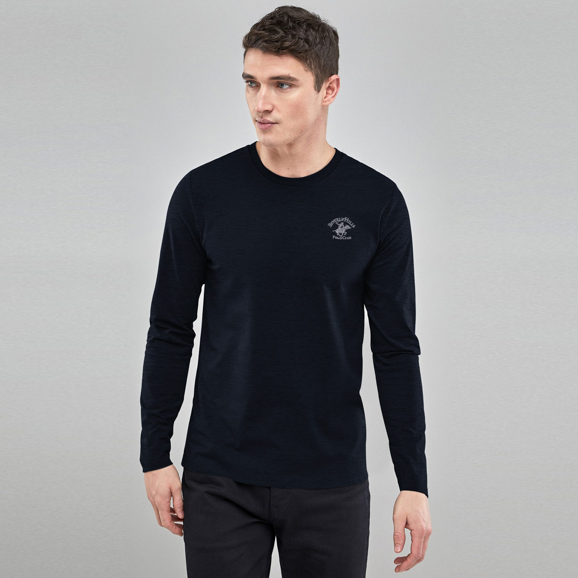 Beverly Hills Single Jersey Long Sleeve Tee Shirt For Men-Dark Navy With Black Melange-BE8889
