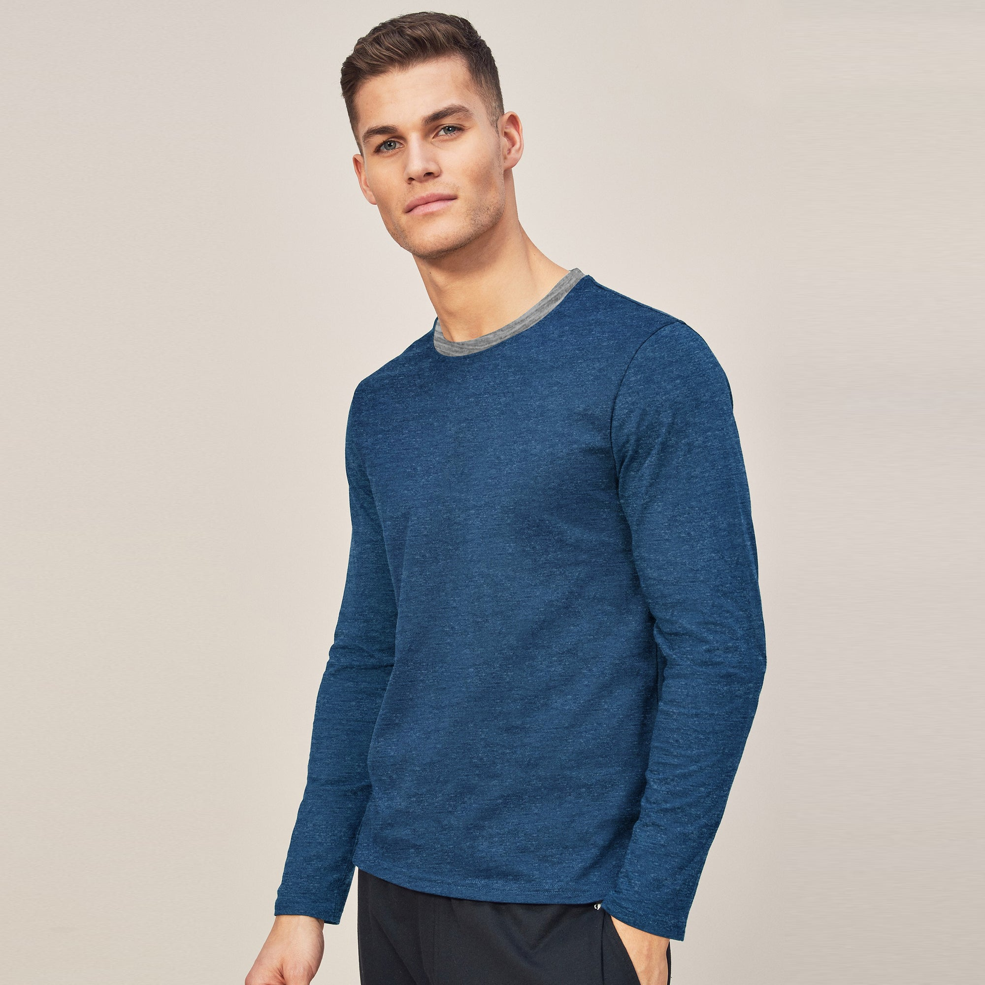 Beverly Hills Single Jersey Long Sleeve Tee Shirt For Men-Dark Sky Melange-BE8896