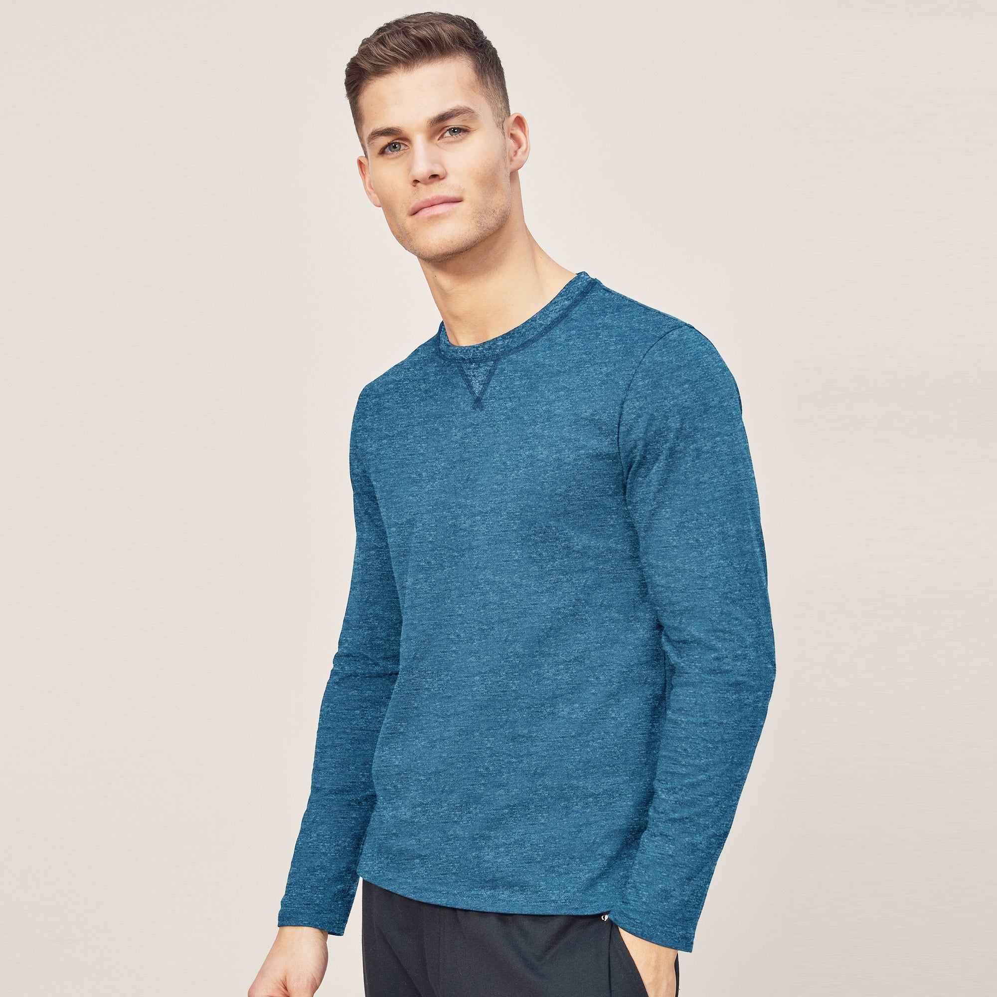 Beverly Hills Single Jersey Long Sleeve Tee Shirt For Men-Dark Sky Melange-BE8899