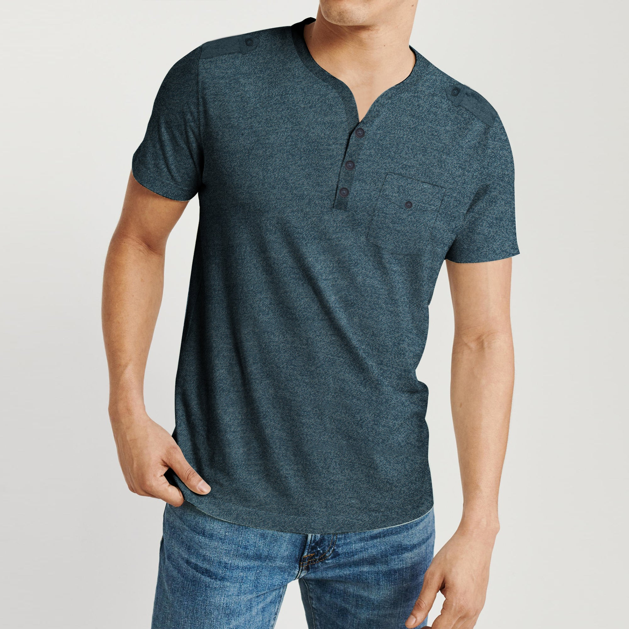 Beverly Hills V Neck Half Sleeve Tee Shirt For Men-BE8277