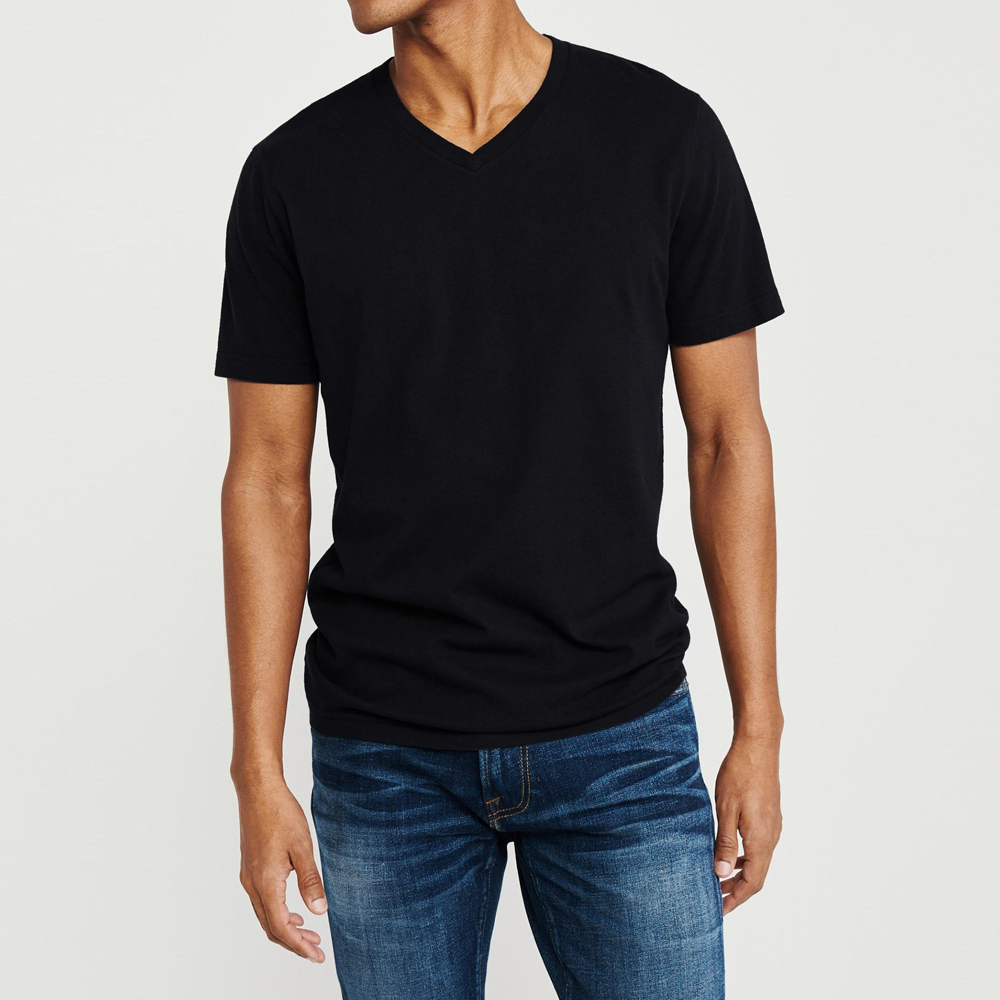 Beverly Hills V Neck Half Sleeve Tee Shirt For Men-Black-BE8206