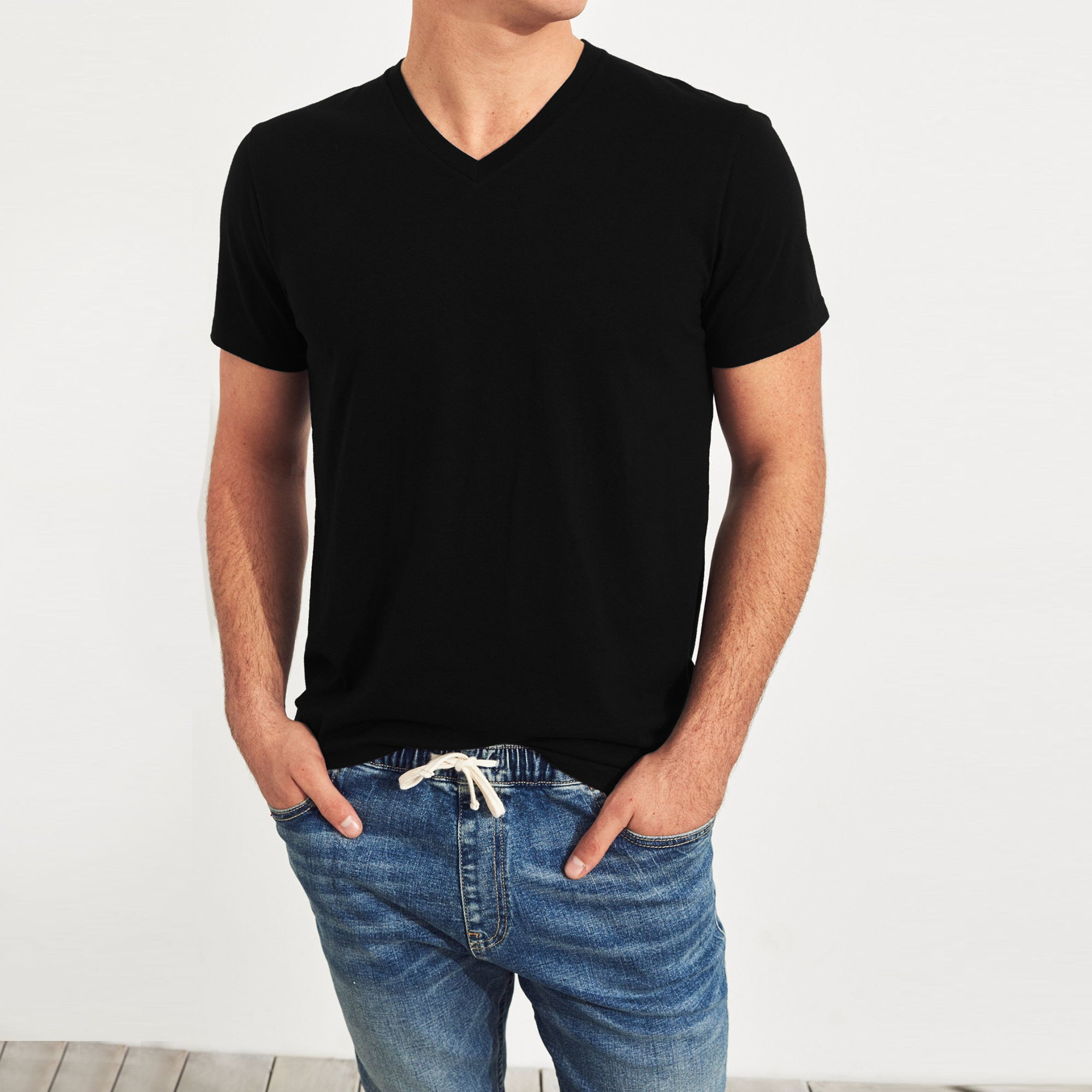 Beverly Hills V Neck Half Sleeve Tee Shirt For Men-Black-BE8900