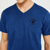 Beverly Hills V Neck Half Sleeve Tee Shirt For Men-Dark Blue Melange-BE8194