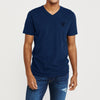 brandsego - Beverly Hills V Neck Half Sleeve Tee Shirt For Men-Dark Blue Melange-BE8873