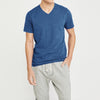 brandsego - Beverly Hills V Neck Half Sleeve Tee Shirt For Men-Dark Blue Melange-BE8903