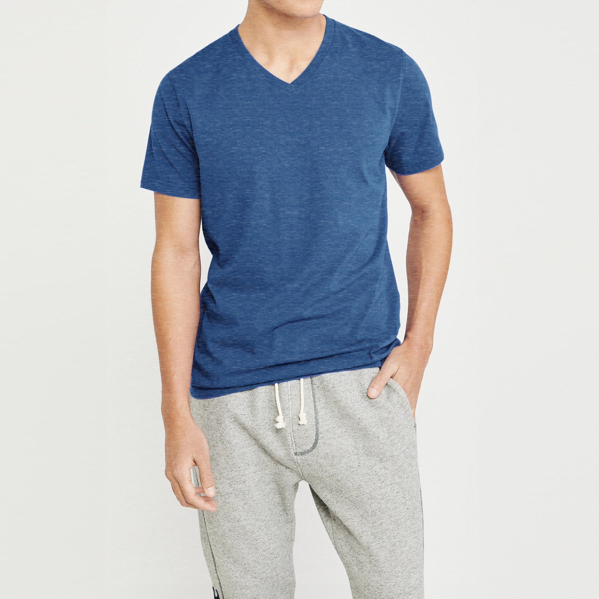 Beverly Hills V Neck Half Sleeve Tee Shirt For Men-Dark Blue Melange-BE8903