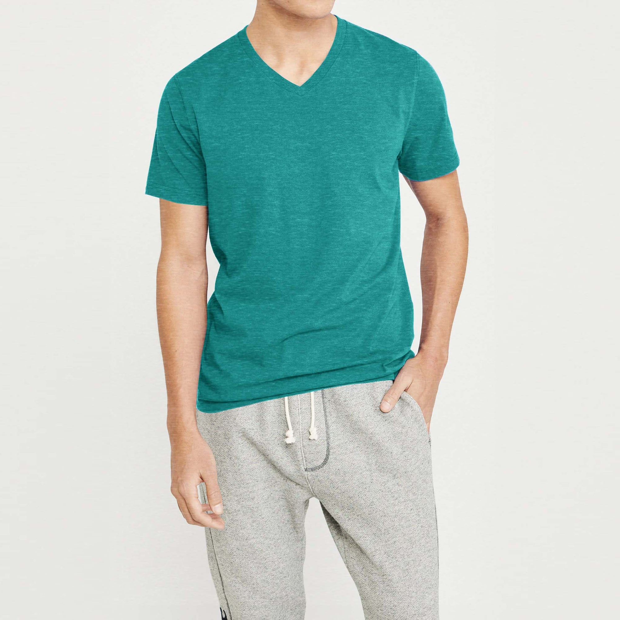 Beverly Hills V Neck Half Sleeve Tee Shirt For Men-Cyan Melange-SP3238