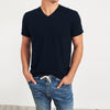 Beverly Hills V Neck Half Sleeve Tee Shirt For Men-Dark Navy Melange-BE8189
